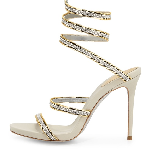 Snake Crystal-embellished Metallic Leather Sandals - Silver Rene Caovilla ZUOb0c7B